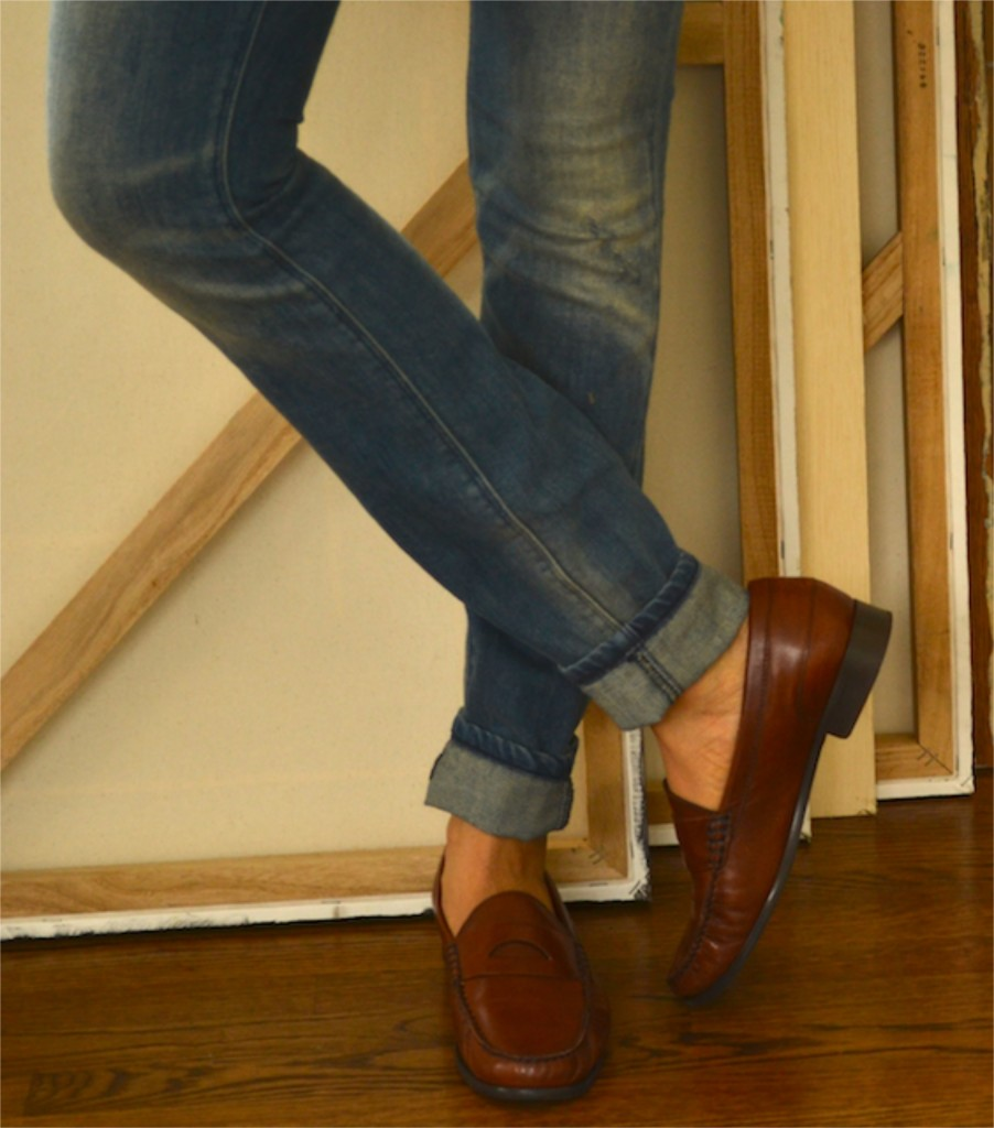 Cuffed Skinny Jeans and Loafers