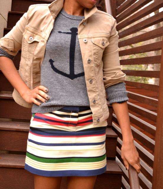 Anchor Sweater + Stripe Skirt