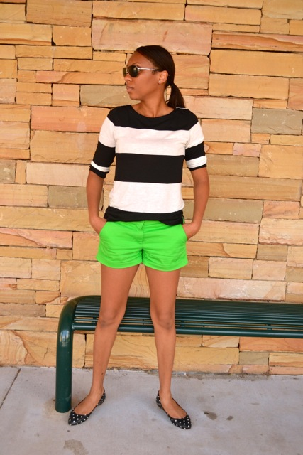 Black/White Striped Shirt + Green Shorts + Dot Flats 3