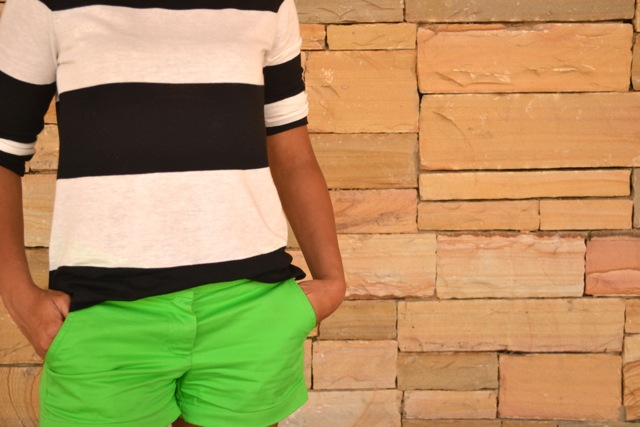 Black/White Striped Shirt + Green Shorts