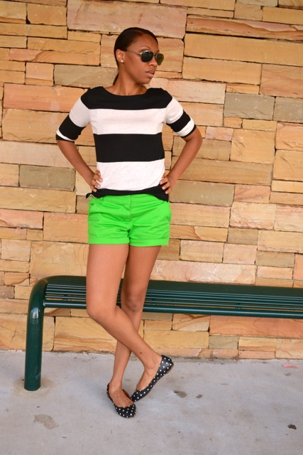 Black/White Striped Shirt + Green Shorts + Dot Flats