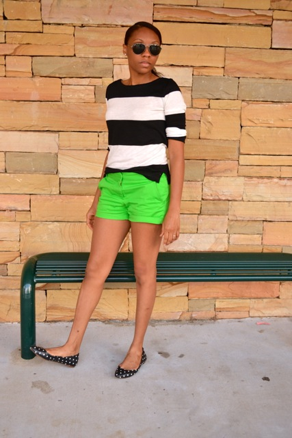 Black/White Striped Shirt + Green Shorts + Dot Flats 2