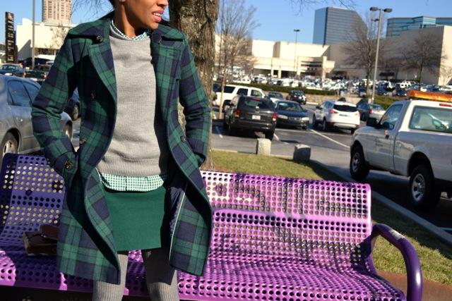 Gingham Shirt + Plaid Coat + Skirt 2