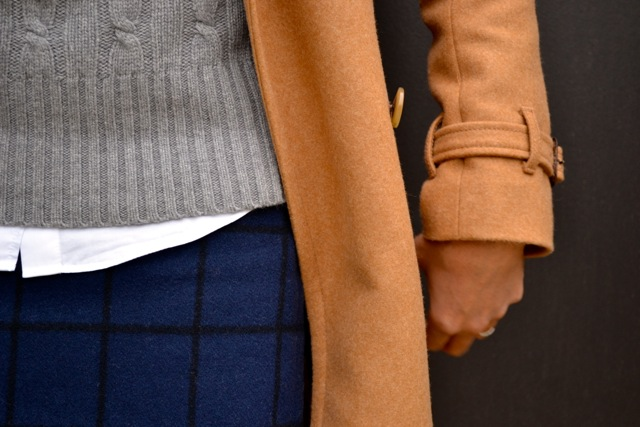 Windowpane Skirt + Cable Knit Sweater + Tights + Camel Coat 2