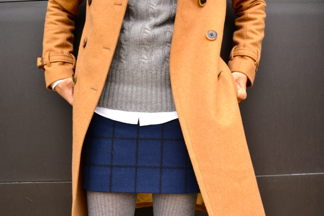 Windowpane Skirt + Cable Knit Sweater + Tights + Camel Coat