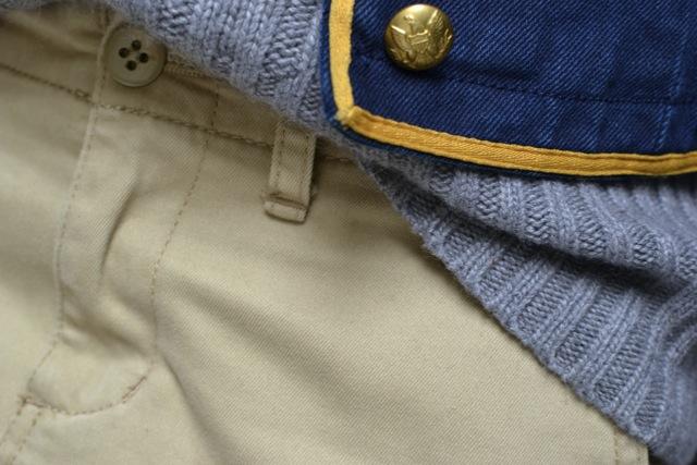 Button Front Military Jacket + Cable Knit Turtleneck Sweater + Khaki Mini