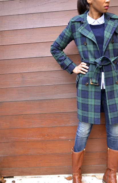 Navy/Green Plaid Coat + Navy Sweater + Striped Shirt + Jeans 2