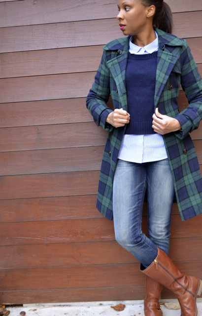 Navy/Green Plaid Coat + Navy Sweater + Striped Shirt + Jeans
