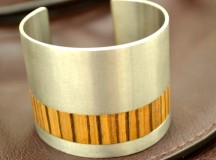 Stainless Steel and Zebrawood Cuff