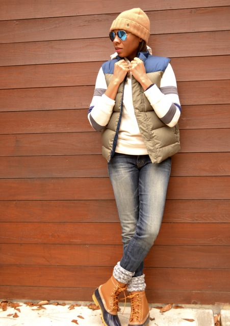 Stripe Sleeve Hooded Sweatshirt + Puffer Vest + Bean Boots 2