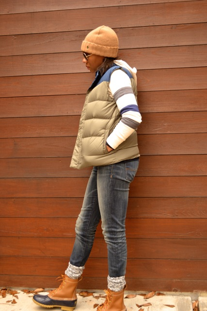 Stripe Sleeve Hooded Sweatshirt + Puffer Vest + Bean Boots 4