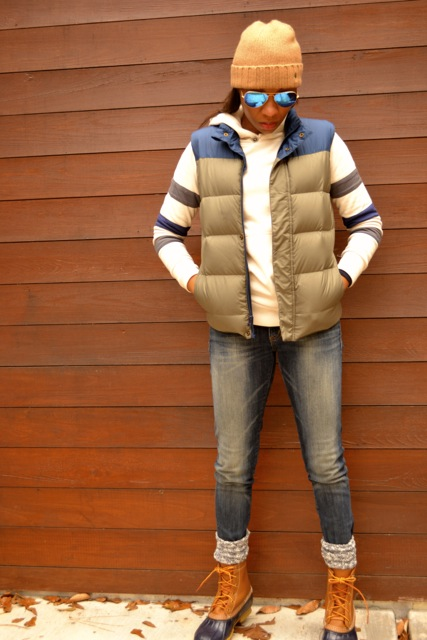 Stripe Sleeve Hooded Sweatshirt + Puffer Vest + Bean Boots 5