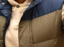 Stripe-Sleeve Hoodie, Puffer Vest, and Bean Boots