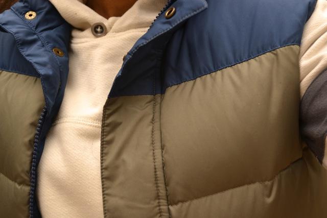 Stripe Sleeve Hooded Sweatshirt + Puffer Vest + Bean Boots