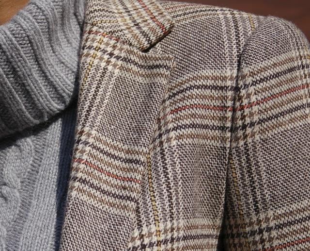 Glen Plaid Blazer + Gray Cable Knit Turtleneck Sweater