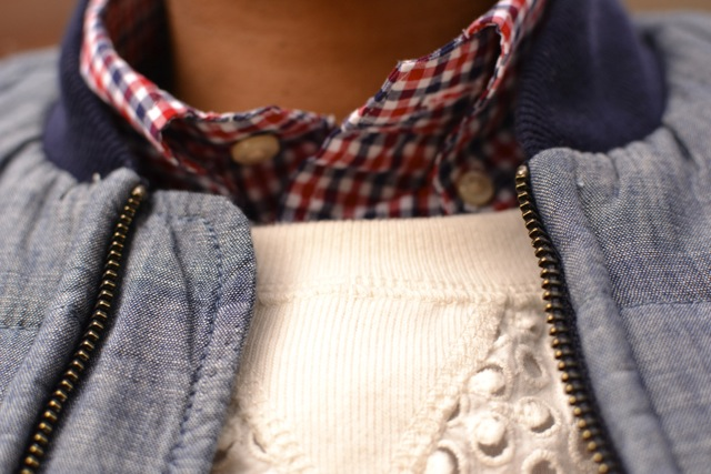 Check Shirt + Eyelet Sweatshirt + Chambray Puffer Vest