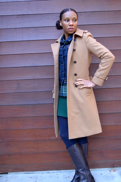 Camel Coat + Denim Jacket + Plaid Shirt + Green Mini Skirt 2