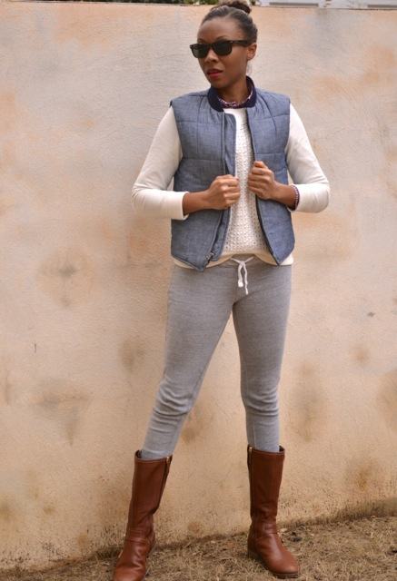 Check Shirt + Eyelet Sweatshirt + Chambray Puffer Vest 3