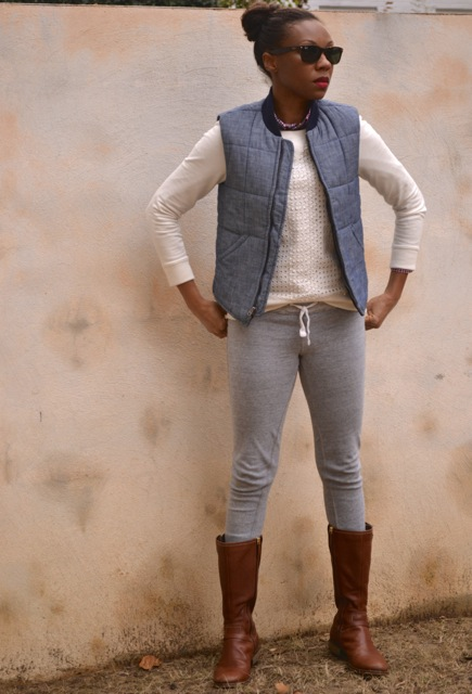 Check Shirt + Eyelet Sweatshirt + Chambray Puffer Vest 4