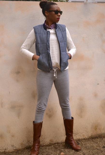 Check Shirt + Eyelet Sweatshirt + Chambray Puffer Vest 2
