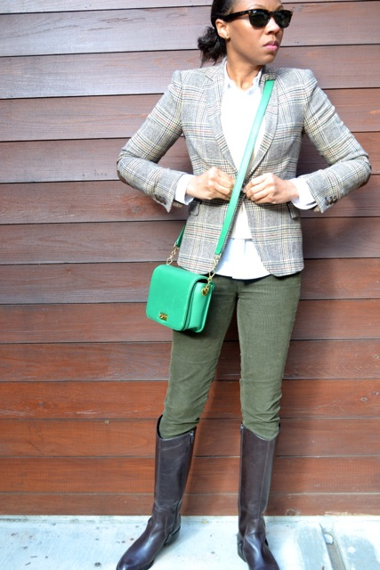 Glen Plaid Blazer + Cream Crop Sweater + Olive Corduroy Pants + Riding Boots 3