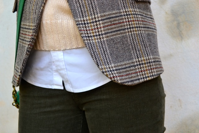 Glen Plaid Blazer + Cream Crop Sweater + Olive Corduroy Pants + Riding Boots 6