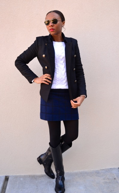 Black Peacoat + White Cable Knit Sweater + Navy/Black Windowpane Mini 4