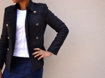 Navy, Black, and White: Windowpane + Cable Knit