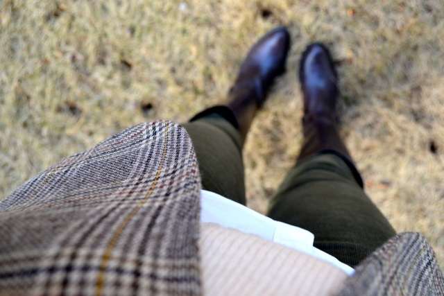 Glen Plaid Blazer + Cream Crop Sweater + Olive Corduroy Pants + Riding Boots