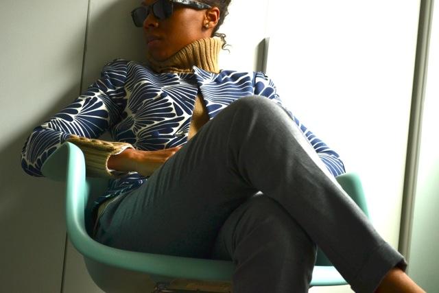 Blue Print Jacket + Camel Sweater + Gray Crop Pants + Leopard Clutch 2