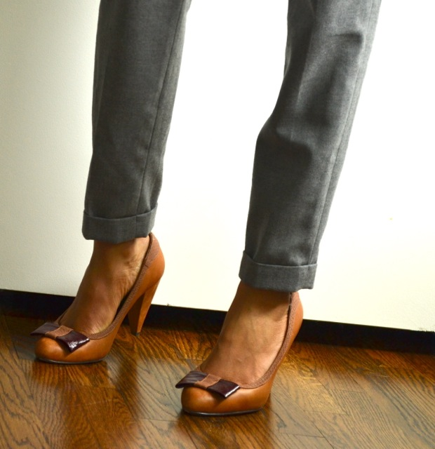 Gray Crop Pants + Bow Shoes
