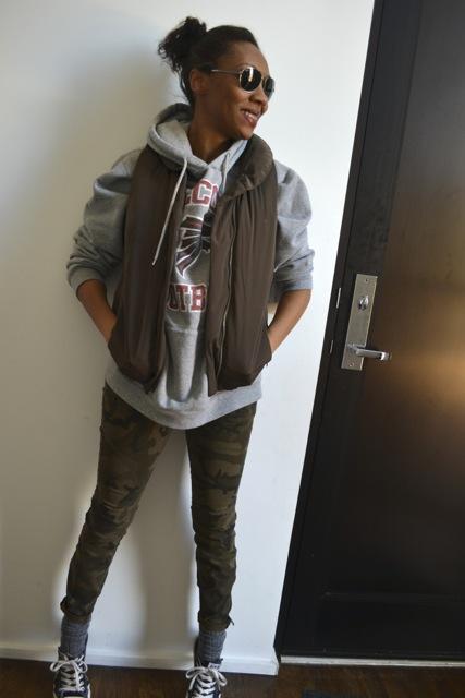 Camo Pants + Sweatshirt + Puffer Vest 2