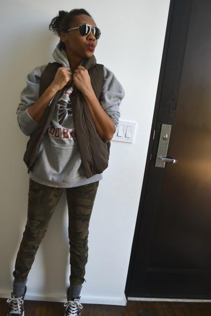 Camo Pants + Sweatshirt + Puffer Vest 3