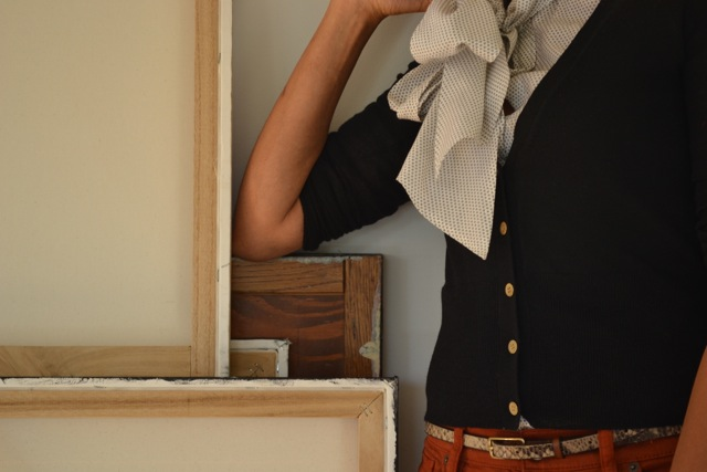 Rust Jeans + Tie-Neck Top + Cardi