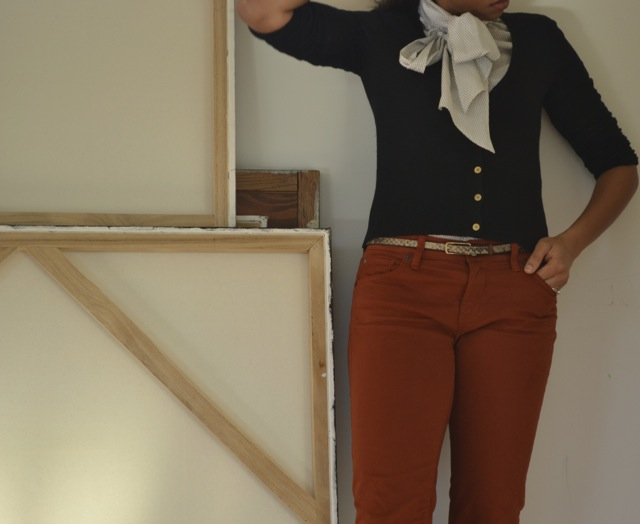 Rust Jeans + Tie-Neck Top + Cardi 2