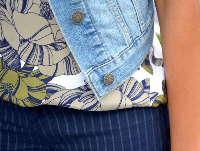 Floral Tee + Pinstripe Pants