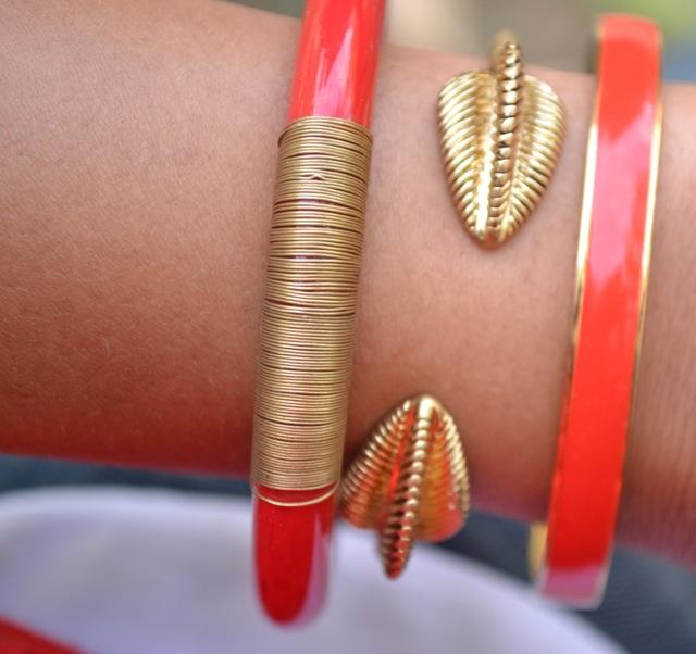 Bracelets: Red & Gold