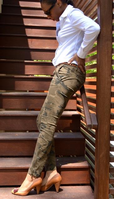 Camo Pants + White Shirt