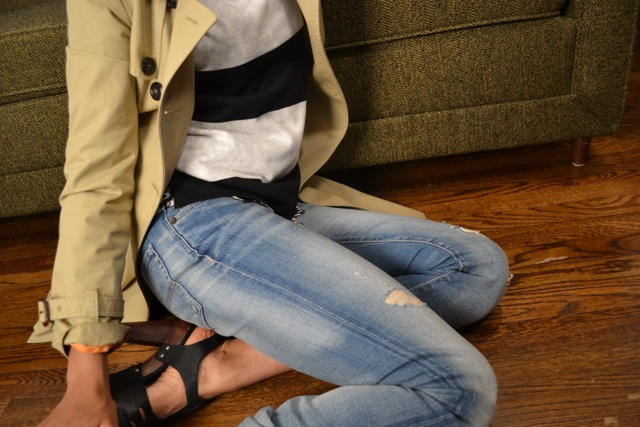 Boyfriend Jeans + Stripes + Trench 2