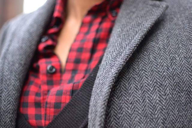 Buffalo Check Shirt + Sweater Vest + Blazer