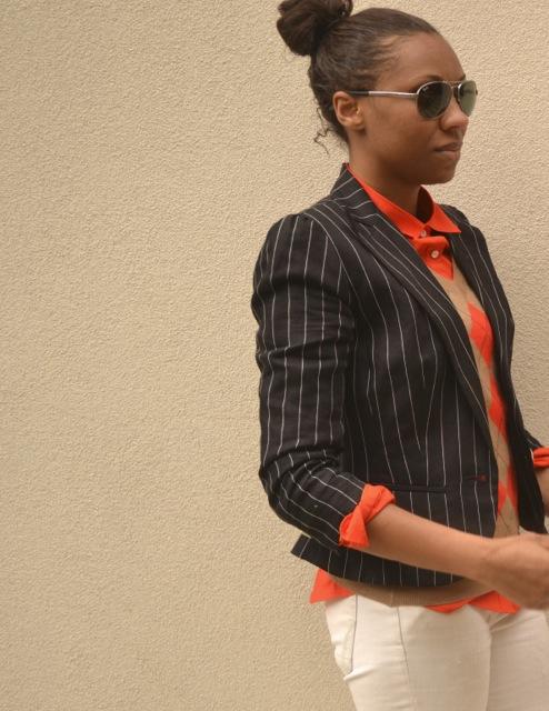 Pinstripe Blazer + Argyle Sweater