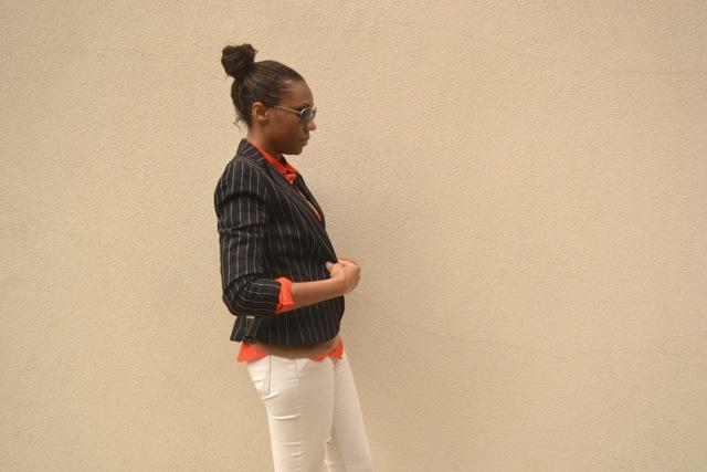 Argyle Sweater + Pinstripe Blazer + White Jeans