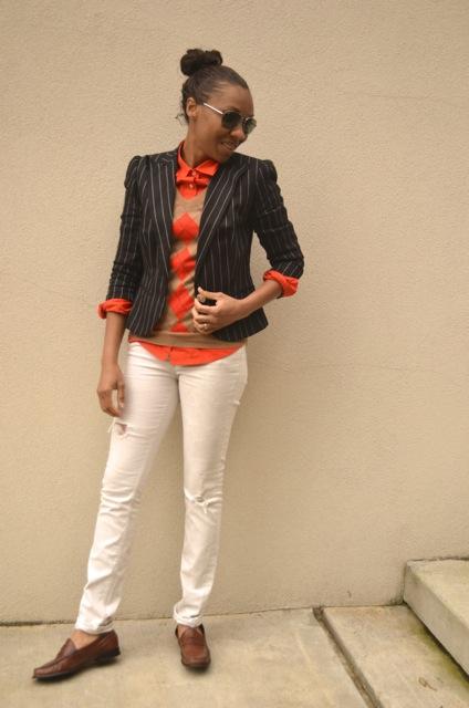 Argyle Sweater + Pinstripe Blazer + White Jeans 2