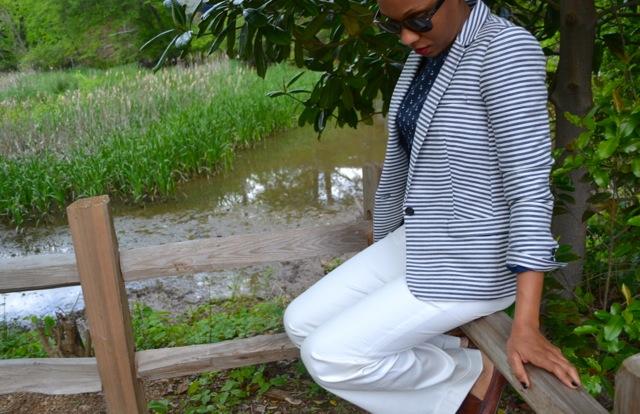 Anchor Print Blouse + Striped Blazer 4