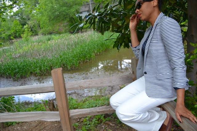 Anchor Print Blouse + Striped Blazer 2