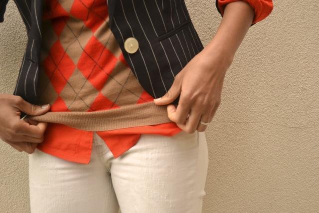 Pinstripe Blazer + Argyle Sweater 2