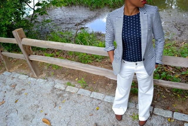 Anchor Print Blouse + Striped Blazer 3