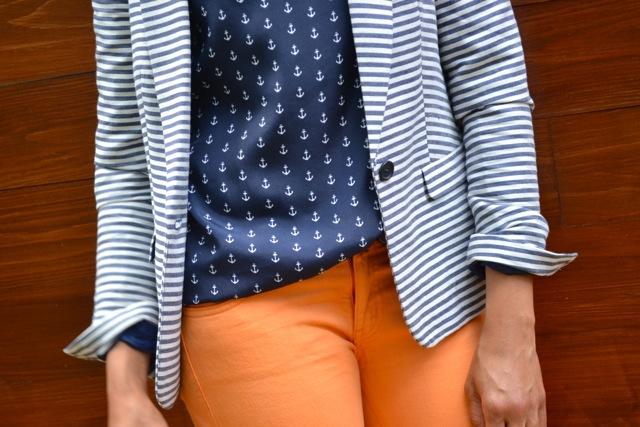 Stripe Blazer + Anchor Print Top + Jeans 2