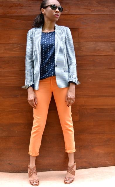 Stripe Blazer + Anchor Print Top + Jeans 3