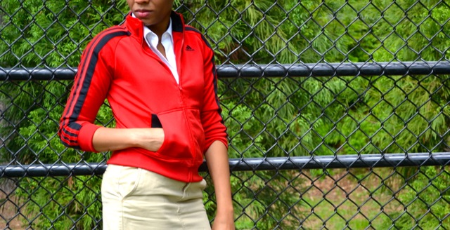 Distressed Khaki Skirt + Track Jacket